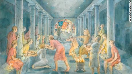 An artist's reconstruction of what went on inside the Mithraeum.