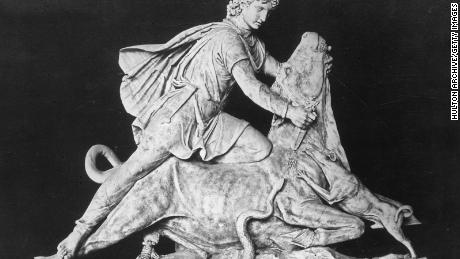 Cult statue of Mithras slaying the sacred bull with his dagger.