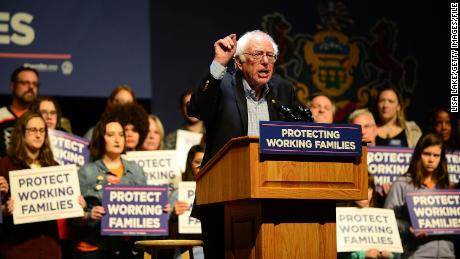 READING, PA - DECEMBER 03:  U.S. Senator Bernie Sanders speaks on stage during the Protecting Working Families Rally to stand up against the horrific GOP tax proposal, hosted by Not One Penny, and MoveOn.org at Santander Performing Arts Center on December 3, 2017 in Reading, Pennsylvania.  (Photo by Lisa Lake/Getty Images for MoveOn.org)