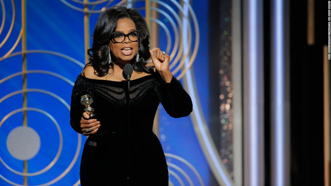 "Oprah Winfrey accepts the Cecil B. DeMille Award at the Golden Globes on Sunday, January 7. She is the first black woman to receive the award, which is given annually ""to a talented individual who has made an incredible impact on the world of entertainment."" <a href=""http://www.cnn.com/2018/01/07/entertainment/oprah-speech-2018-golden-globes/index.html"" target=""_blank"">Her acceptance speech</a> spurred chatter of a presidential run, and <a href=""http://money.cnn.com/2018/01/08/media/oprah-golden-globes/index.html"" target=""_blank"">two of her close friends told CNN</a> that she is ""actively thinking"" about it."