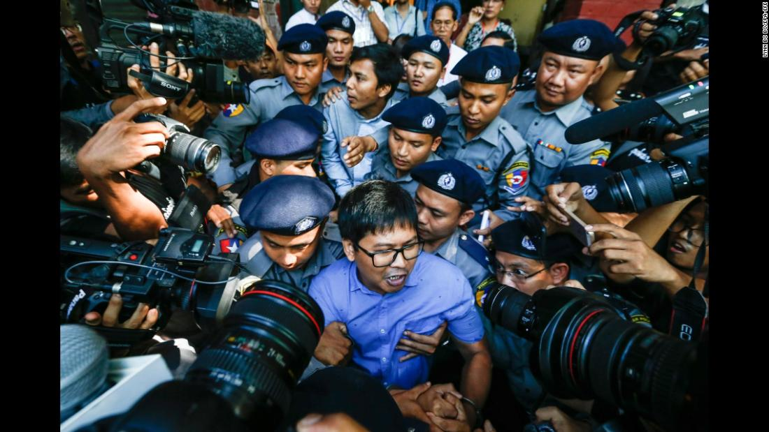 "Reuters journalists Wa Lone, center front, and Kyaw Soe Oo, center back, are escorted by police as they leave a courtroom in Yangon, Myanmar, on Wednesday, January 10. <a href=""http://www.cnn.com/2018/01/10/asia/reuters-journalists-myanmar-intl/index.html"" target=""_blank"">They were arrested last month</a> while working on stories about the Rohingya minority in Rakhine state, Reuters reported, citing the men's lawyers. In a statement to Reuters in December, the Myanmar government said the reporters had been detained after they ""illegally acquired information with the intention to share it with foreign media."" Reuters Editor-in-Chief Stephen Adler said the agency was ""extremely disappointed"" at what he termed an ""wholly unwarranted, blatant attack on press freedom."""