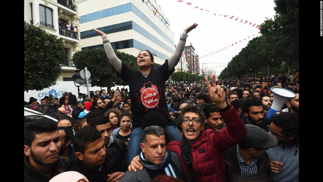 "People shout slogans during an anti-austerity protest in Tunis, Tunisia, on Tuesday, January 9. Tunisian police <a href=""http://www.cnn.com/2018/01/11/africa/tunisia-protests-arrests-intl/index.html"" target=""_blank"">have arrested more than 300 people</a> after four nights of protests, Interior Ministry spokesman Col. Major Khelifa Chibani told state news agency TAP on Thursday, January 11. The protests are against an unpopular new Finance Act, which saw price hikes and value-added-tax increases imposed from January 1."