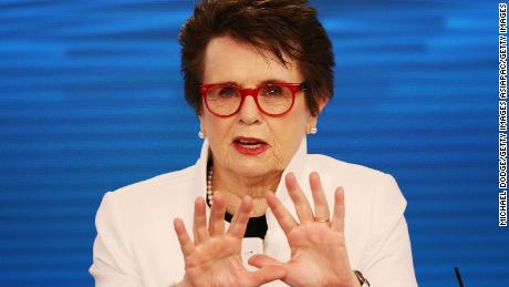 Tennis legend Billie Jean King speaks to media during a press conference ahead of the 2018 Australian Open at Melbourne Park on January 12, 2018.