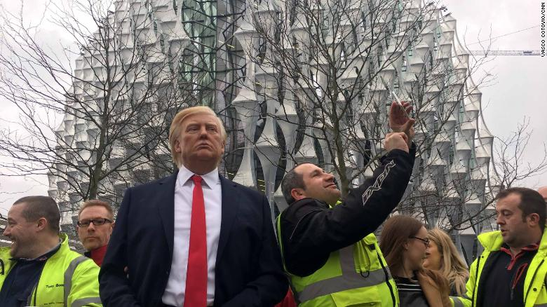 A waxwork of US President Donald Trump outside the new US embassy in London.