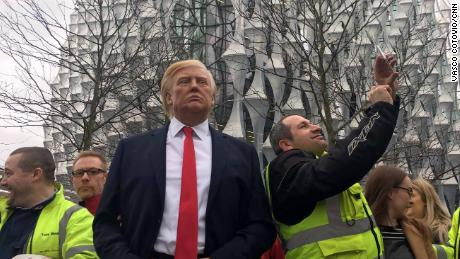 A waxwork of US President Donald Trump was placed outside the new US embassy in London on Friday, January 12.