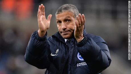NEWCASTLE UPON TYNE, ENGLAND - DECEMBER 30:  Chris Hughton, Manager of Brighton and Hove Albion applauds fans after the Premier League match between Newcastle United and Brighton and Hove Albion at St. James' Park on December 30, 2017 in Newcastle upon Tyne, England.  (Photo by Mark Runnacles/Getty Images)