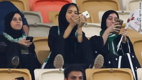 Fans watch a match at the King Abdullah Sports City stadium in Jeddah.