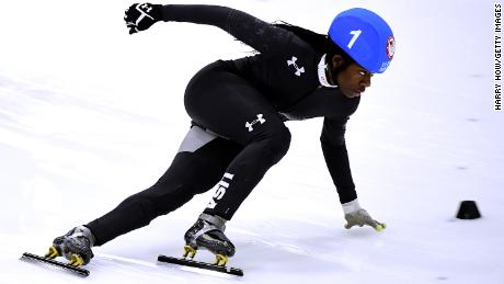 SALT LAKE CITY, UT - DECEMBER 16:  Maame Biney #1 takes the corner on her way to victory in the Women's 500 Meter A Final for a spot on the Olympic team during the 2018 U.S. Speedskating Short Track Olympic Team Trials at the Utah Olympic Oval on December 16, 2017 in Salt Lake City, Utah.  (Photo by Harry How/Getty Images)