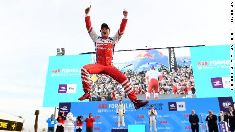 MARRAKECH, MOROCCO - JANUARY 13: In this handout provided by FIA Formula E -  Felix Rosenqvist (SWE), Mahindra Racing, Mahindra M4Electro, celebrates on the podium after winning the race during the Marrakech ePrix, Round 3 of the 2017/18 FIA Formula E Series at the Circuit International Automobile Moulay El Hassan on January 13, 2018 in Marrakech, Morocco. (Photo by Sam Bagnall/LAT Images/FIA Formula E via Getty Images)