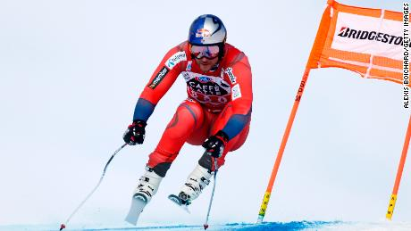 Aksel Lund Svindal had a brush with the safety netting as he chased Beat Feuz in Wengen.