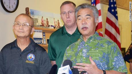 Hawaii Gov. David Ige (R) speaks to reporters in Honolulu on Jan. 13, 2018, after a false alert about an incoming ballistic missile was sent out to residents across the state by the Emergency Management Agency. Ige blamed human error for the glitch.