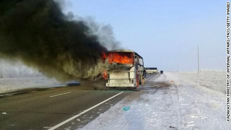 AKTOBE REGION, KAZAKHSTAN - JANUARY 18, 2018: A bus on fire on the Samara-Shymkent road in the Yrgyz District. 52 people were killed in the incident. Emergency Committee of Kazakhstan's Ministry of Internal Affairs/TASS (Photo by TASS\TASS via Getty Images)