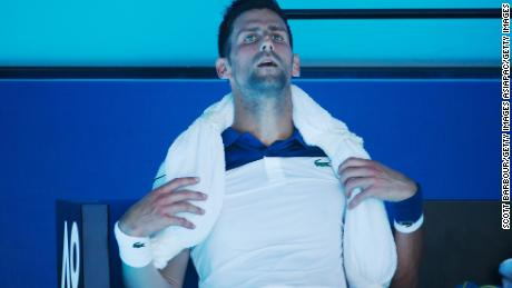 Ice towels were the order of the day for players, including for Novak Djokovic.