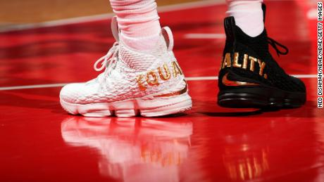 "The ""Equality"" sneakers of LeBron James #23 of the Cleveland Cavaliers during game against the Washington Wizards on December 17, 2017 at Capital One Arena in Washington, DC."
