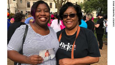 Talamieka Brice and her mother marched together at the Women's March in Jackson, Mississippi in 2017.