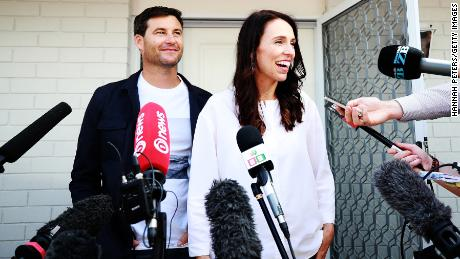 Prime Minister Jacinda Ardern and her partner Clarke Gayford announce her pregnancy in Auckland on Friday.
