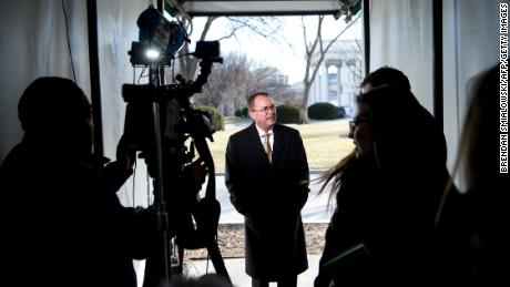 Mick Mulvaney, Director of the Office of Management and Budget, speaks about a possible government shutdown outside the White House on January 19, 2018 in Washington, DC. / AFP PHOTO / Brendan Smialowski        (Photo credit should read BRENDAN SMIALOWSKI/AFP/Getty Images)