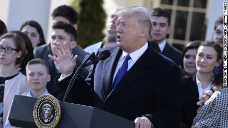 "US President Donald Trump speaks live via video link to the annual ""March for Life"" participants and anti-abortion leaders on January 19, 2018 from the White House in Washington,DC.  The 45th edition of the rally, which describes itself as ""the world's largest pro-life event,"" takes place on the National Mall -- with other scheduled speakers including House Speaker Paul Ryan.  / AFP PHOTO / Brendan SMIALOWSKI        (Photo credit should read BRENDAN SMIALOWSKI/AFP/Getty Images)"