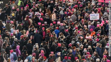 Second Women's March Again Brings Massive Protest Crowds Into Streets