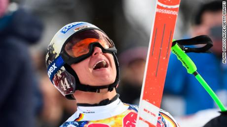 KITZBUEHEL, AUSTRIA - JANUARY 20: Thomas Dressen of Germany takes 1st place during the Audi FIS Alpine Ski World Cup Men's Downhill on January 20, 2018 in Kitzbuehel, Austria. (Photo by Alain Grosclaude/Agence Zoom/Getty Images)