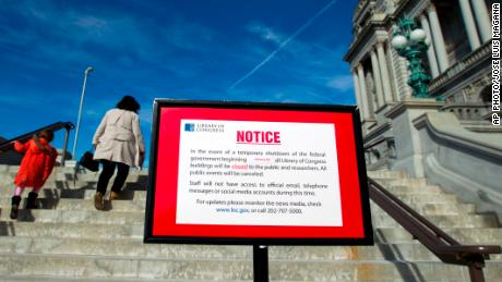 Library of Congress post a sign letting people know is closed due the shut down of the government on Saturday, Jan. 20, 2018, at the Capitol in Washington. The federal government shut down at the stroke of midnight Friday, halting all but the most essential operations. (AP Photo/Jose Luis Magana)
