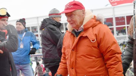 Lauda attends the Hahnenkamm si race on January 20, 2018 in Kitzbuehel, Austria.