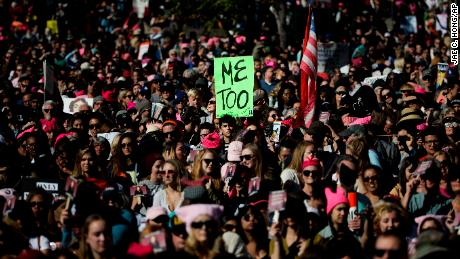 Protesters gather at the Grand Park for a Women's March against sexual violence and the policies of the Trump administration Saturday, Jan. 20, 2018, in Los Angeles. (AP Photo/Jae C. Hong)