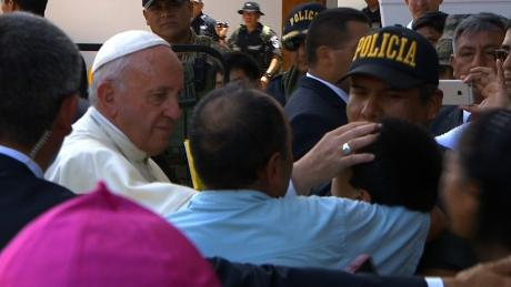 Wheelchair bound teen, Marcelo Medina, was blessed by the Pope thanks to a cop who wanted to help. Officer Alarcón says he saw Marcelo waiting outside and volunteered to carry Marcelo to the Pope. The family traveled from Cusco to visit with the Pope. CNN's Rosa Flores reports from Peru.
