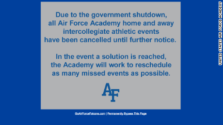 Air Force Academy Cancels All Sporting Events Amid Government Shutdown