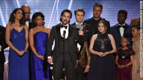 "LOS ANGELES, CA - JANUARY 21:  Actor Milo Ventimiglia (C) and the cast of ""This Is Us"" onstage during the 24th Annual Screen Actors Guild Awards at The Shrine Auditorium on January 21, 2018 in Los Angeles, California.  (Photo by Kevork Djansezian/Getty Images)"
