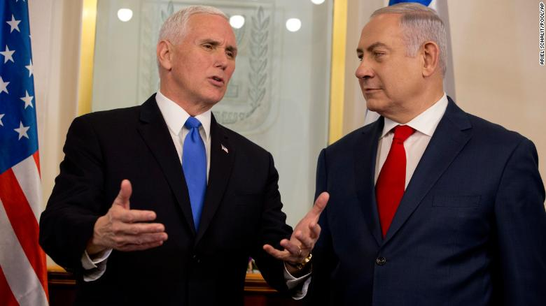 US Vice President Mike Pence, left, with Israeli Prime Minister Benjamin Netanyahu in Jerusalem on Monday.