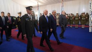 US Vice President Mike Pence, center left, with Israeli Prime Minister Benjamin Netanyahu, center right, at a welcome ceremony in Jerusalem on Monday.