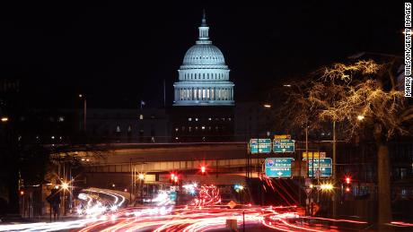 WASHINGTON, DC - JANUARY 22: The U.S. Capitol can be seen as traffic moves in and out of the city, on January 22, 2018 in Washington, DC. On day 3 of the government shutdown, lawmakers are convening to try to resolve their differences and reopen the government.    (Photo by Mark Wilson/Getty Images)