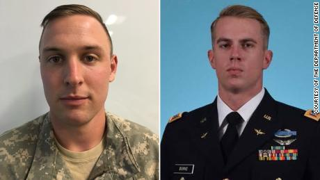 1st Lt. Clayton R. Cullen, of Indiana (left), and Chief Warrant Officer 2 (CW2) Kevin F. Burke, of California (right), were killed on Saturday when their Apache helicopter crashed in a training accident at Fort Irwin, California.
