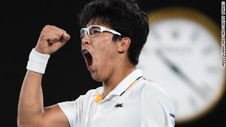 Hyeon Chung roars in delight.