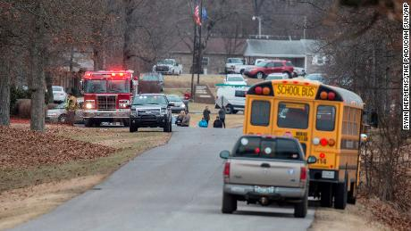 Emergency crews respond to Marshall County High School after a fatal school shooting Tuesday, Jan. 23, 2018, in Benton, Ky. Authorities said a shooting suspect was in custody. (Ryan Hermens/The Paducah Sun via AP)