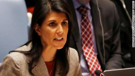 NEW YORK, USA - JANUARY 23: Permanent Representative of the United States to the United Nations (UN), Nikki Haley speaks during a UN Security Council meeting that discussed chemical weapons in Syria at the United Nations headquarters in New York, United States on January 23, 2018. (Photo by Mohammed Elshamy/Anadolu Agency/Getty Images)