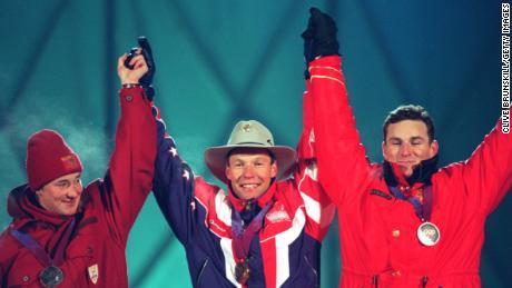 Moe (center) downed local hero Kjetil Andre Aamodt (left) and Canada's Ed Podivinsky.