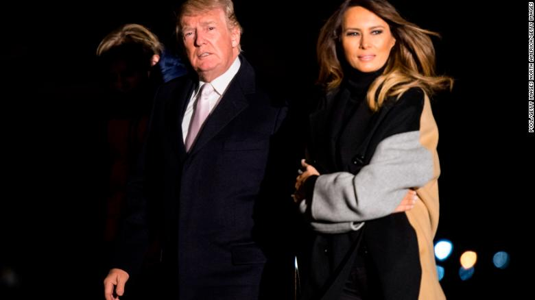First lady Melania Trump leaves Palm Beach Friday night