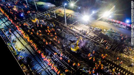 Aerial image of Chinese workers working simultaneously on an overnight railway project. Joined by 1,500 workers, the entire project is completed just in 9 hours.