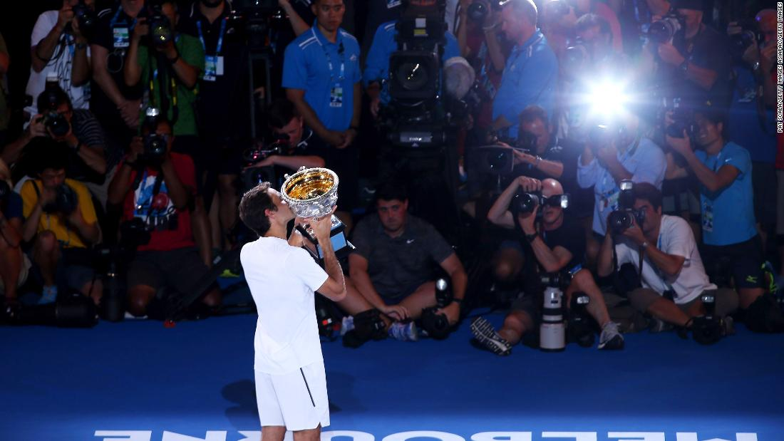 And then it was time for more pictures. He's been in that position 20 times now in grand slam finals.
