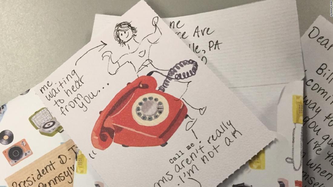 Each letter Kane sent was hand written.
