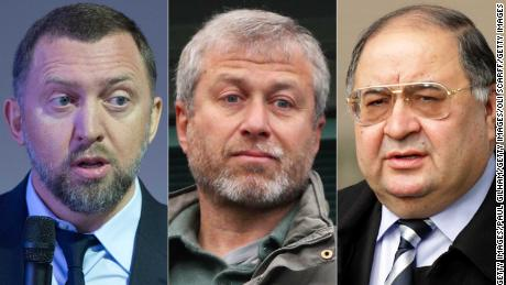 From left to right: Oleg Vladimirovich Deripaska, Chairman of Supervisory Board of Basic Element company; Chelsea Club owner Roman Abramovich;  Russian Oligarch Alisher Usmanov