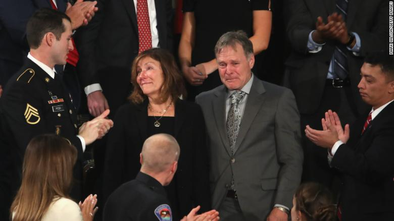 WASHINGTON, DC - JANUARY 30:  Parents of Otto Warmbier, Fred and Cindy Warmbier are acknowledged during the State of the Union address in the chamber of the U.S. House of Representatives January 30, 2018 in Washington, DC. This is the first State of the Union address given by U.S. President Donald Trump and his second joint-session address to Congress.  (Photo by Mark Wilson/Getty Images)