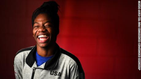 RESTON, VA - DECEMBER 22:  Maame Biney, 17-year old short track speed skater from Reston has qualified for the Olympics. She's originally from Ghana, which makes her an unusual fit with speed skating. Also, she's the first African American female to ever make the Olympic team. (Photo by Jonathan Newton/The Washington Post via Getty Images)