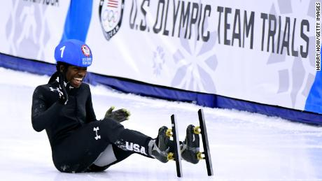 Maame took a tumble while celebrating her win in the 500 at Olympic trials.