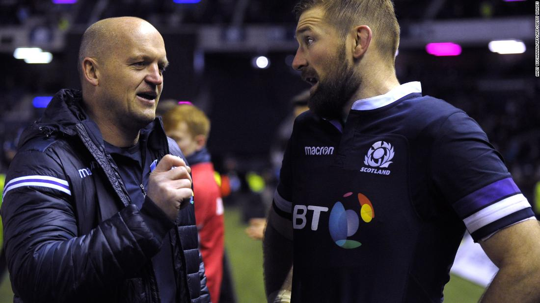 Coach Gregor Townsend (left) took charge of the side in May last year, in which time he has overseen four wins and two losses. He's pictured here with captain John Barclay as the pair celebrate beating Australia.