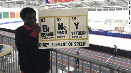Kweku Biney holds up a sign that speaks to both Maame's love for speed skating and chemistry.