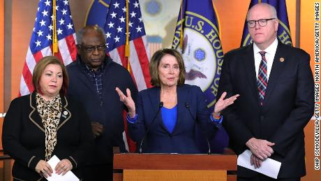 WASHINGTON, DC - JANUARY 31:  House Minority Leader Nancy Pelosi (D-CA) (2nd R) talks to reporters with (L-R) House Minority Whip Steny Hoyer (D-MD), Rep. Linda Sanchez (D-CA), Rep. James Clyburn (D-SC) and Rep. Joseph Crowley (D-NY) during a news conference at the U.S. Capitol January 31, 2018 in Washington, DC. The House Democratic leaders responded to President Donald Trump's first State of the Union address he delivered Tuesday night.  (Photo by Chip Somodevilla/Getty Images)