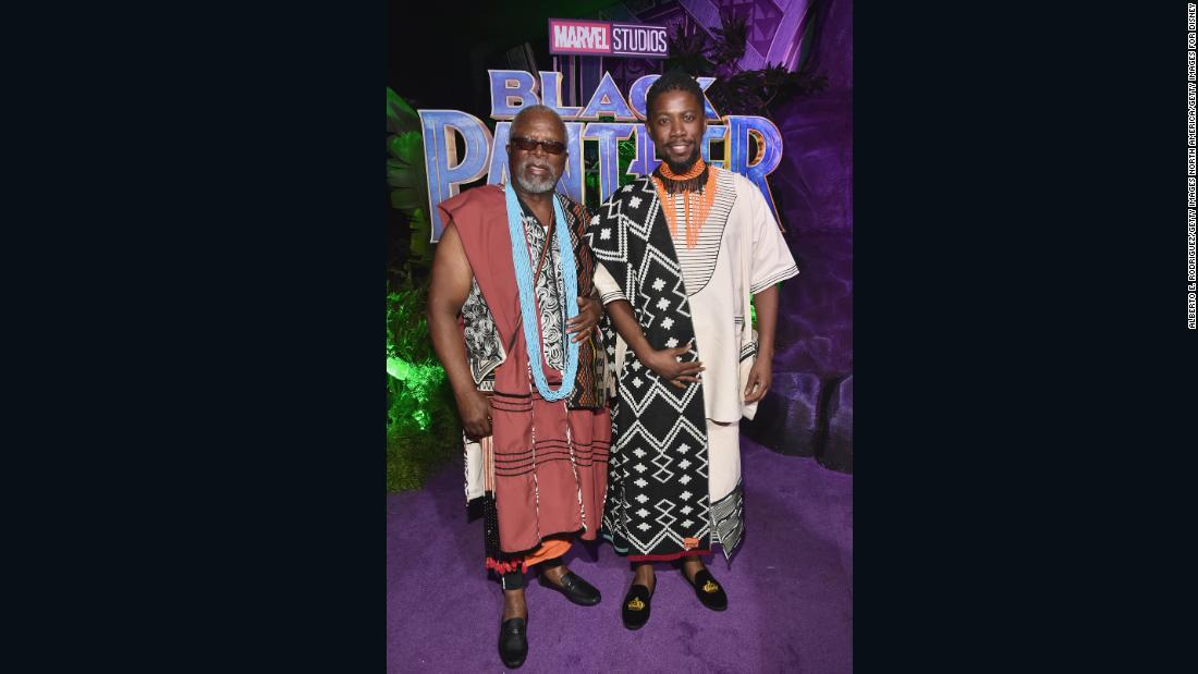 South African actors John Kani and Atandwa Kani were wearing MaXhosa by Laduma Shawls, inspired by their regal roles in Black Panther.